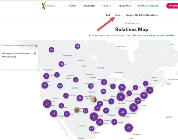 First Steps 23andMe map