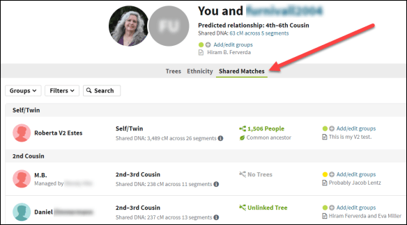 First Steps Ancestry shared matches with cousin