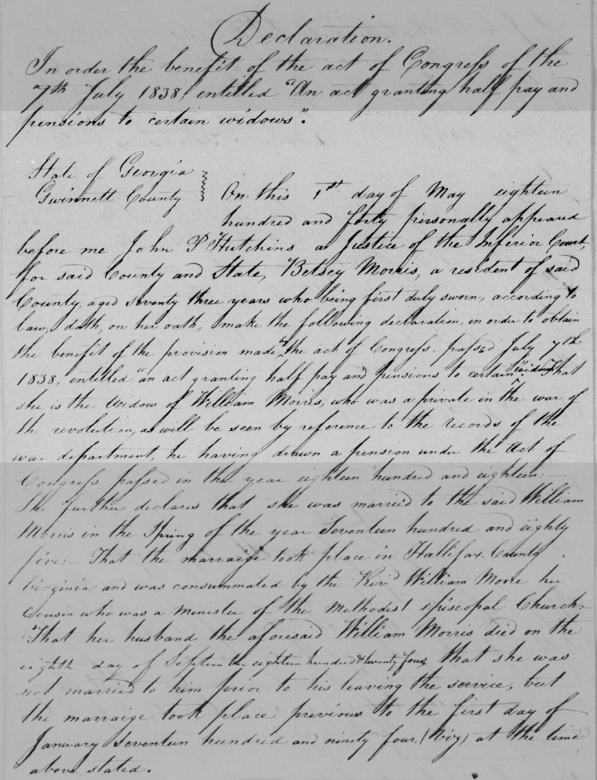 James Moore Betsey McGinnis Morris pension application.png