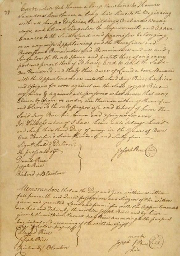 Rachel Rice deed 1765 Joseph to Icay 2.jpg
