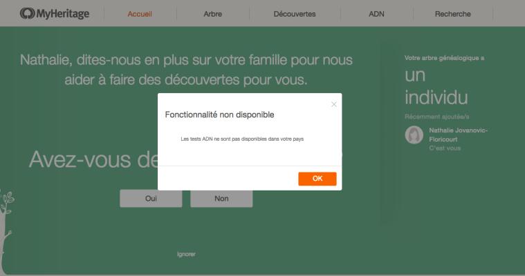 Capture d'Ecran de Myheritage.com, achat de kit ADN à partir de la France