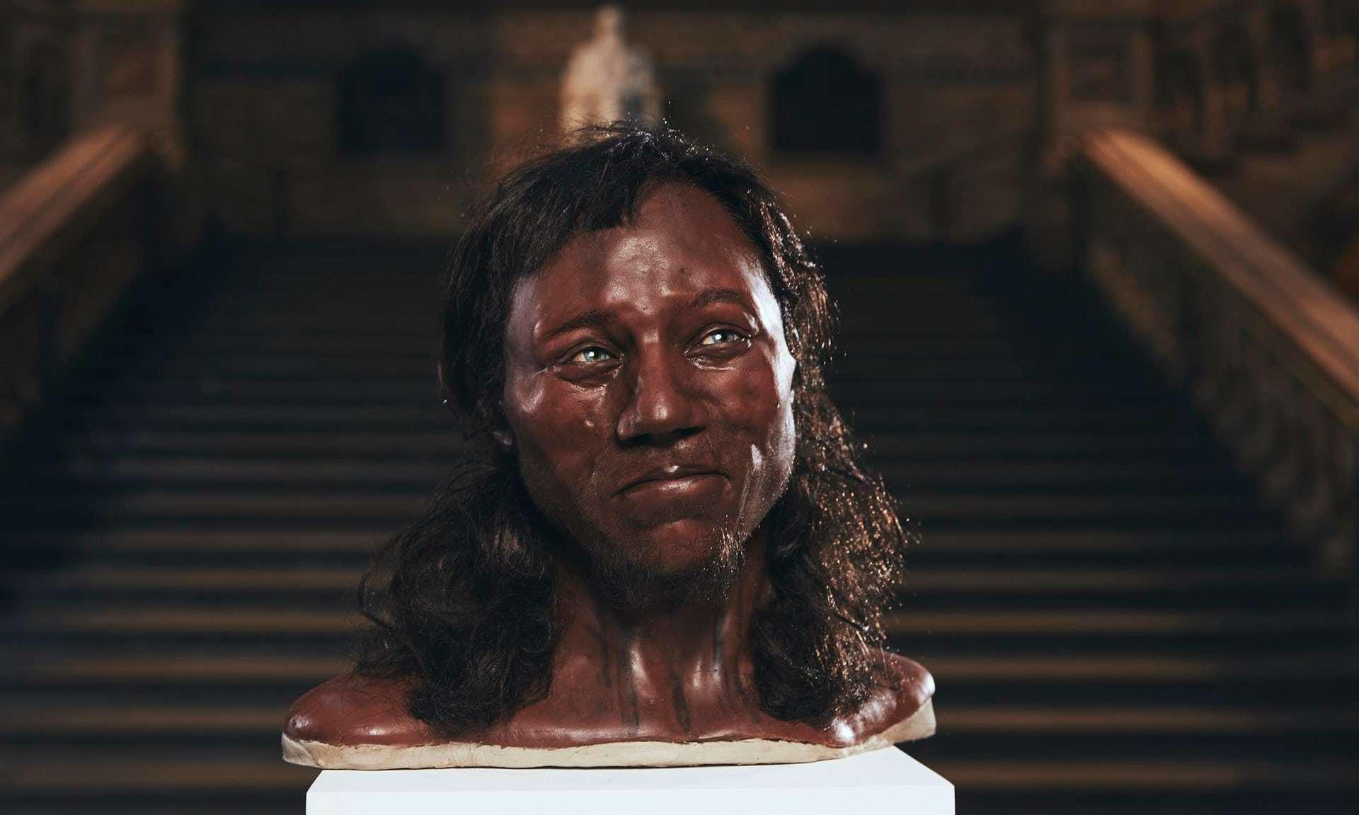 """Reconstitution du visage de l'homme de Cheddar, réalisée en février 2018 pour le documentaire """"The First Brit: Secrets of the 10,000 Year Old Man"""", sur Channel 4"""
