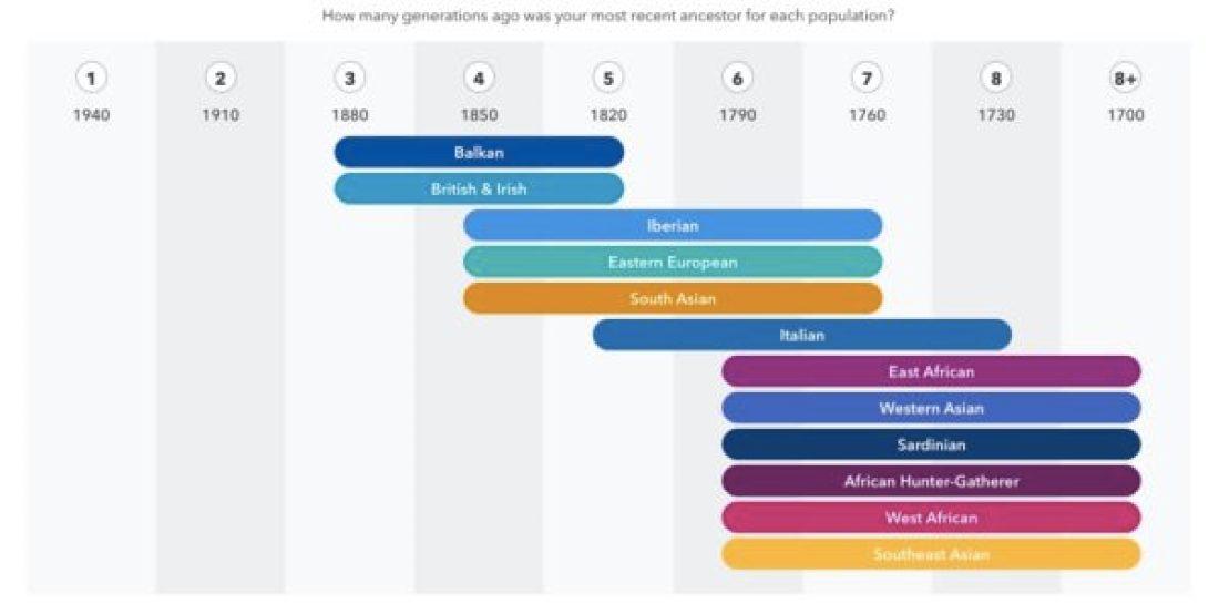 Le détail des origines ethniques de mes ancêtres sur une échelle chronologique. © Nathalie Jovanovic-Floricourt