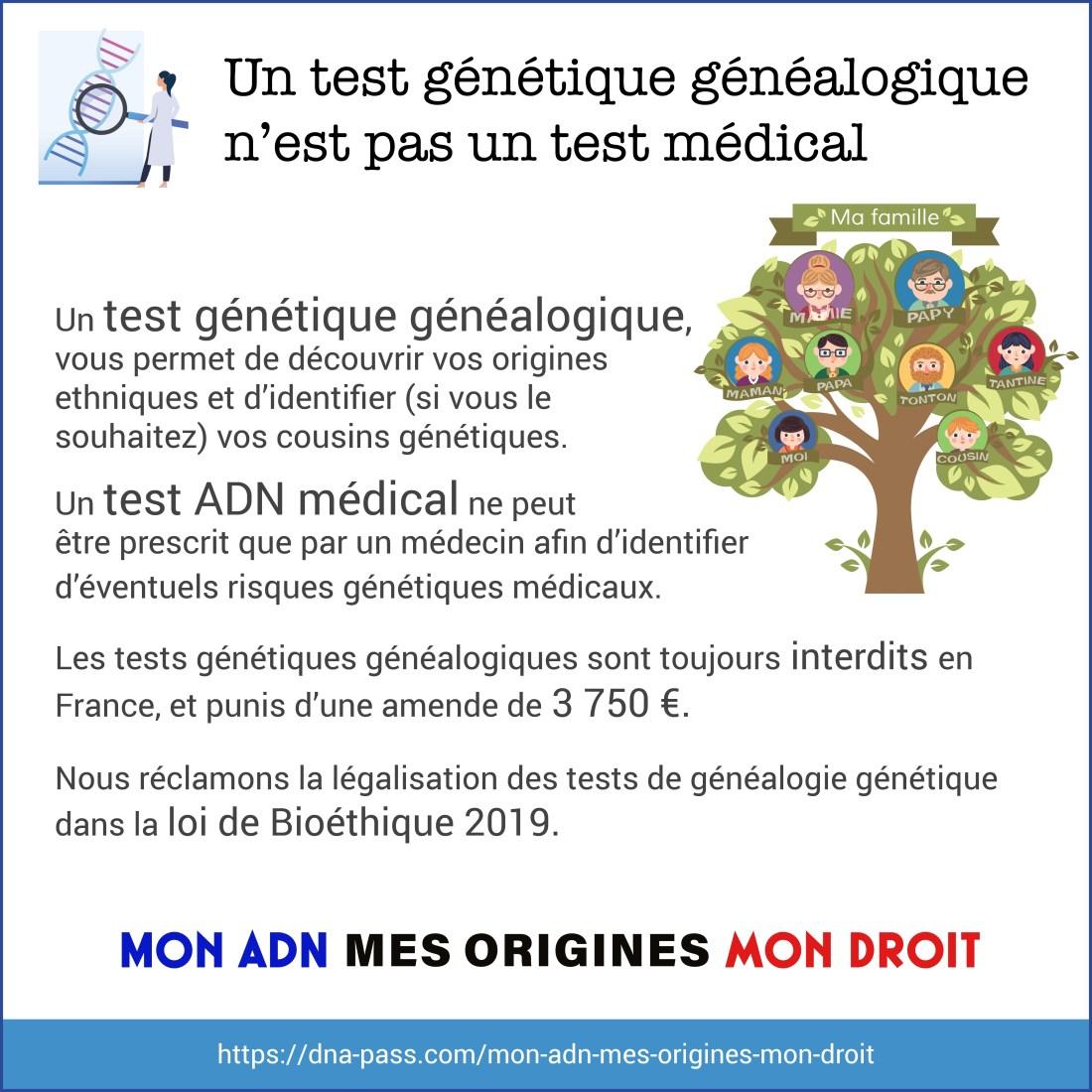 Un test génétique généalogique n'est pas un test génétique médical