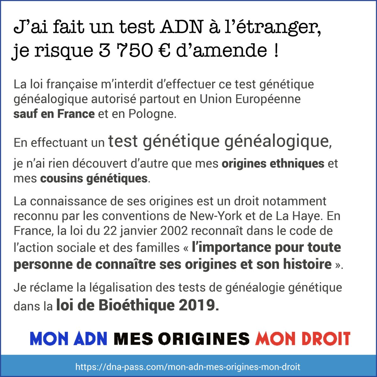 J'ai fait un test ADN à l'étranger, je risque 3750 euros d'amende