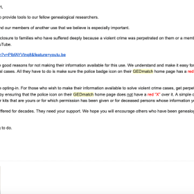 """Email from GEDmatch informing users of the """"FBI Access"""" option or not!"""