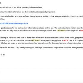 """Email de GEDmatch informant les utilisateurs de l'option """"Accès FBI"""" ou pas !"""