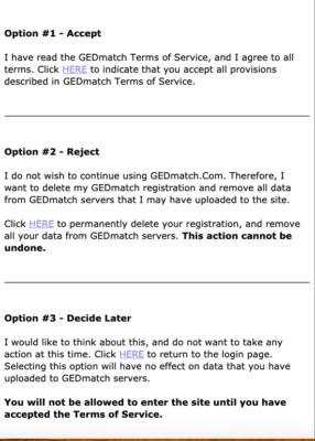 Les 3 options pour accéder désormais à GEDmatch