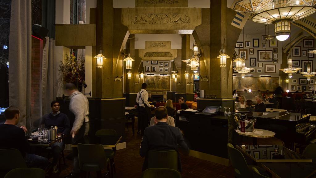 historic Café Americain at night