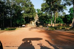 Waiting for Ta Prohm to open