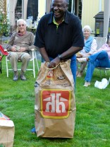 Jonathan selects the biggest bag