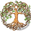 Illustration of a tree of life with Celtic symbols and green leaves