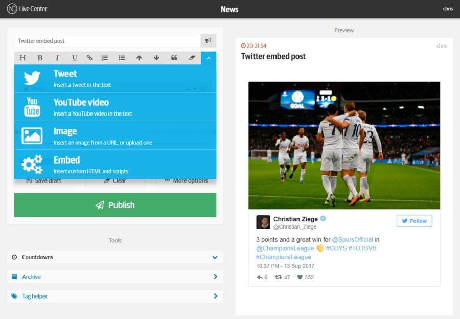 Live Center allows a feed of social media content to quickly be created and embedded on any website