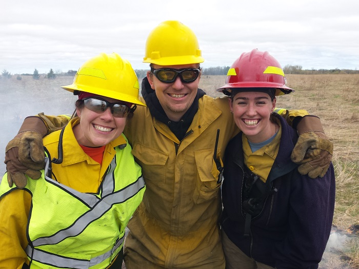Farm Bill Biologists Julie Peterson, Cody Tromberg and Becky Davis work together with landowners to improve habitat.
