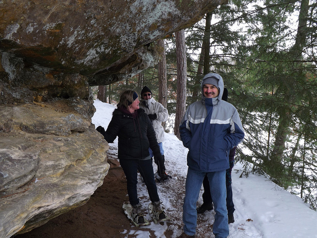Hardy New Year's Day hikers had fun on the 2 mile snowshoe trail where they ventured out to Echo Rock along the lakeside.