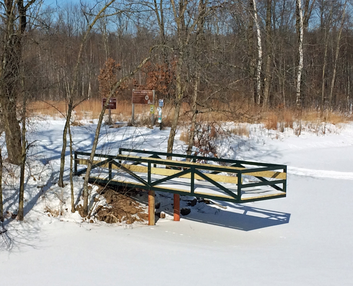 An accessible boardwalk over Glenn's Pond is one of many features for people with disabilities found at Navarino Wildlife Area. - Photo credit: DNR