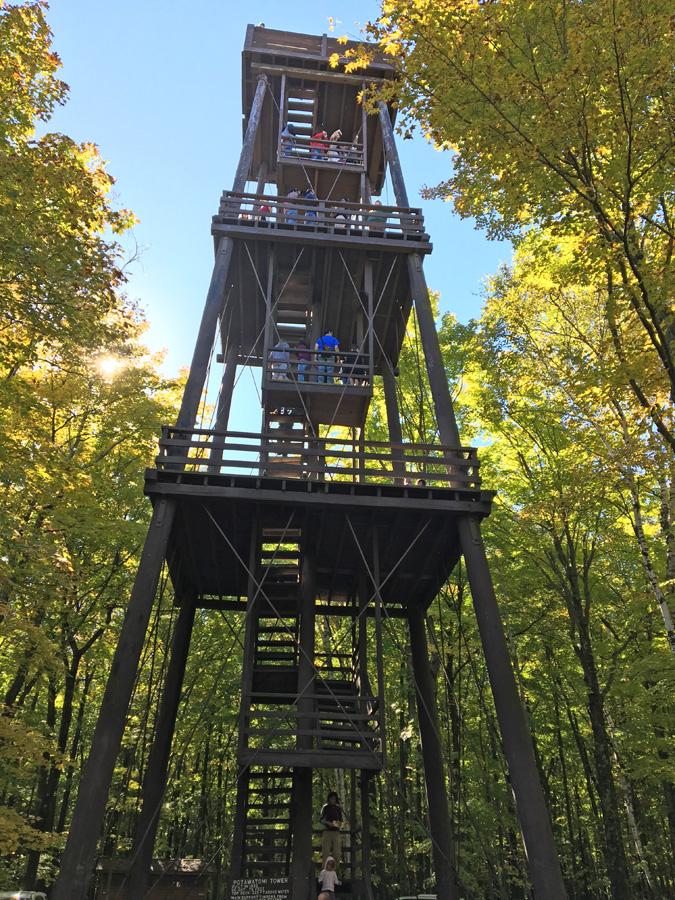 The Potawatomi State Park observation tower was completed in 1932. Signficant decay has been found and the tower is closed and will be taken down. - Photo credit: DNR