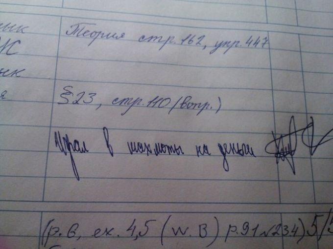 Смешные записи в дневниках