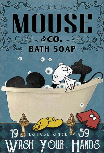 Mickey Mouse co bath soap wash your hands poster