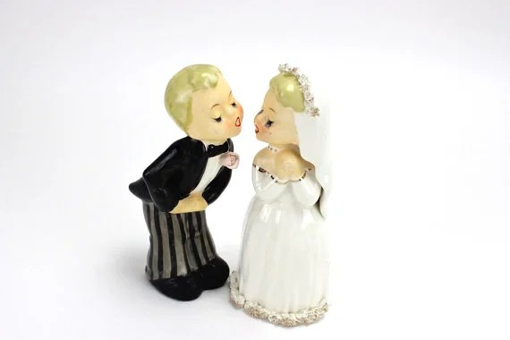 11 Vintage Wedding Cake Toppers   Woman Getting Married MINT Vintage Wedding Cake Topper  Napco Bride and Groom Figurines by  UnderTheSycamores   96