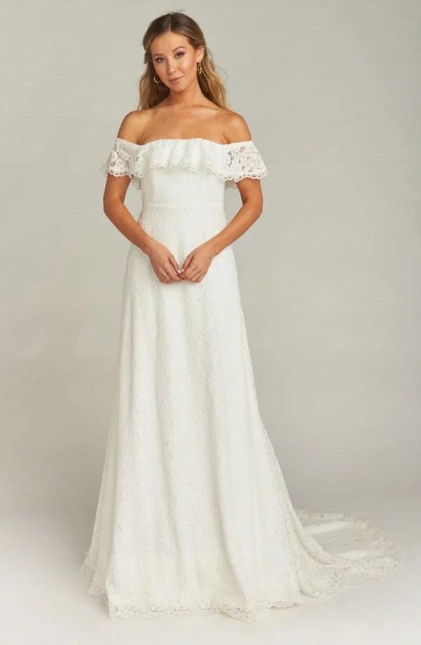 Show Me Your Mumu Karolina Off the Shoulder Lace Wedding Dress ($1,295)