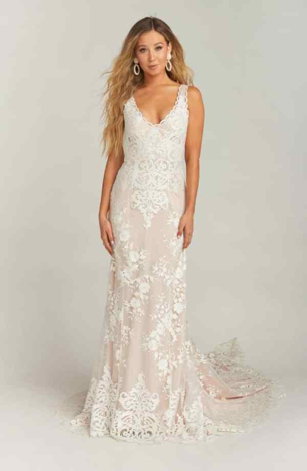 Show Me Your Mumu Contessa V-Neck Lace Wedding Dress ($1,395)