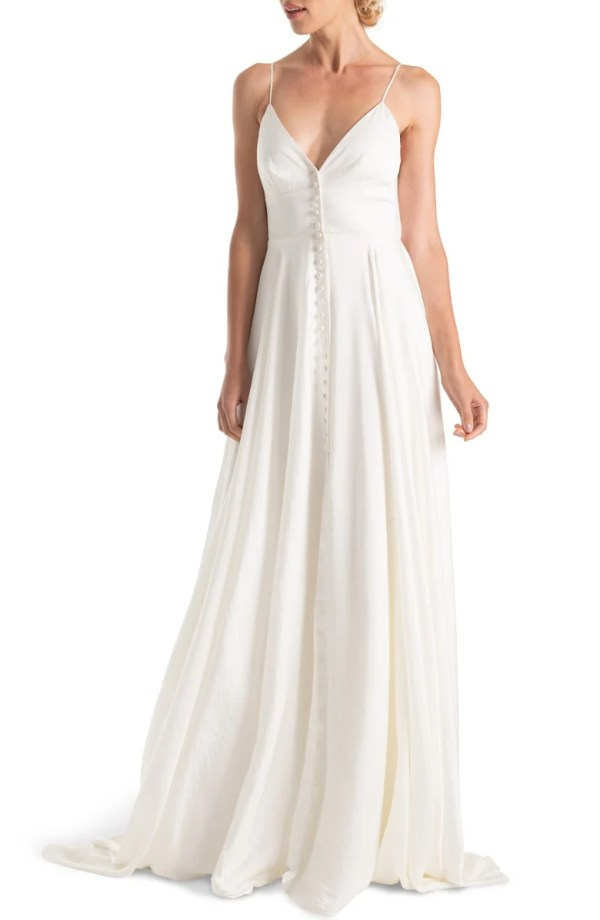 Joanna August F18 Nancy V-Neck Crepe Wedding Dress ($1,295)