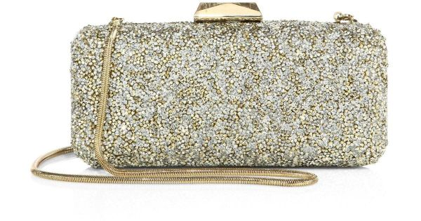 Saks Fifth Avenue Collection Long Rectangular Metallic Crystal Clutch