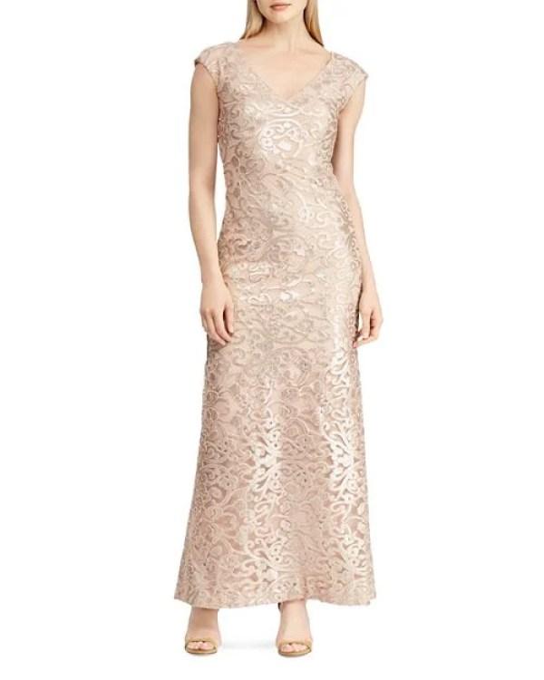 Lauren Ralph Lauren Embroidered Mesh Gown