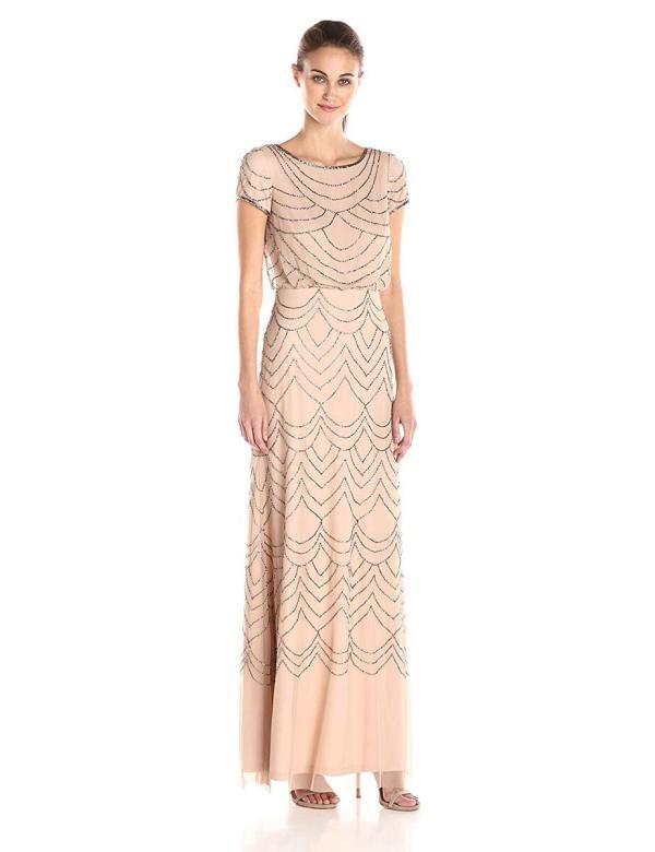 Adrianna Papell Beaded Short Sleeve Blouson Gown