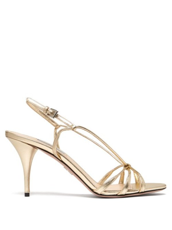 Prada – 85 Metallic Leather Sandals