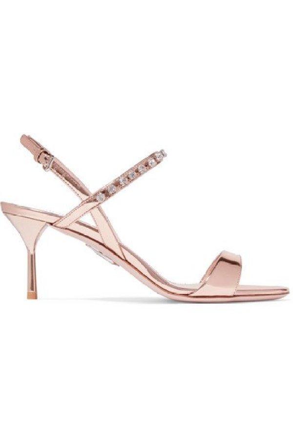 Miu Miu Crystal-Embellished Metallic Patent-Leather Slingback Sandals
