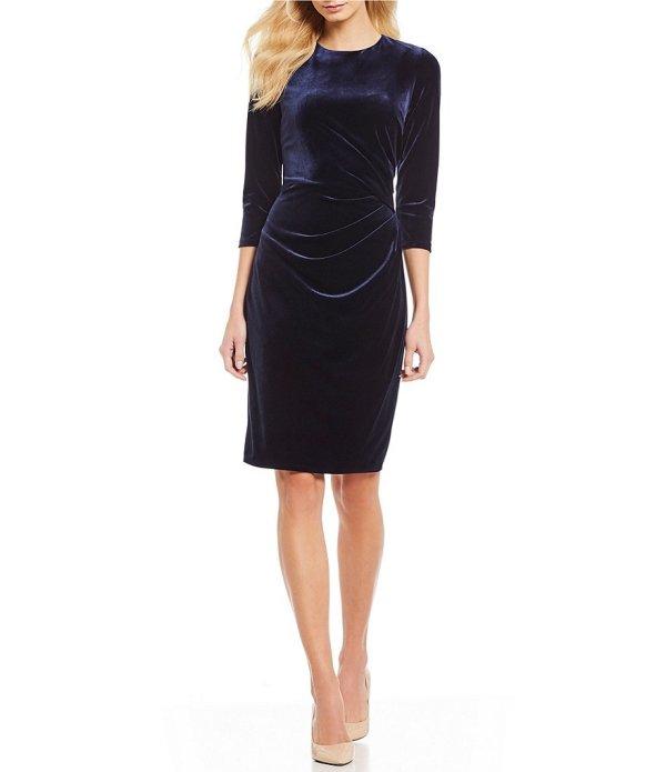 Eliza J Side Pleat Velvet Sheath Dress