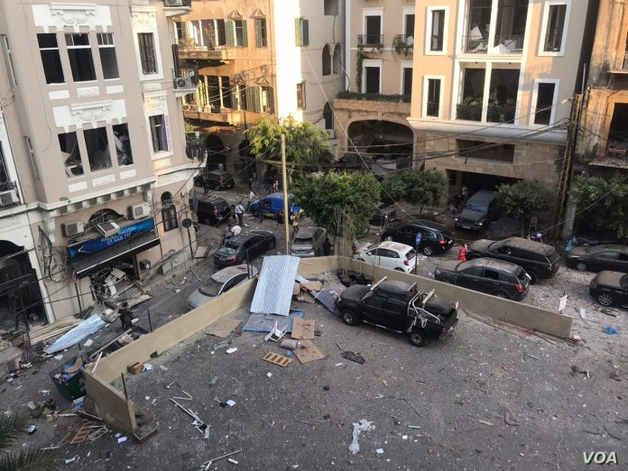 """""""Aftermath of the Port of Beirut explosions on 4 August 2020."""" by Anchal Vohra is in the Public Domain, CC0"""