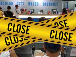 BACOLOD CITY, Negros Occidental, Philippines - The Bacolod City Water District had temporarily closed its Main Office at Corner Galo-San Juan Streets until further notice after two of its employees tested positive for CoViD-19.