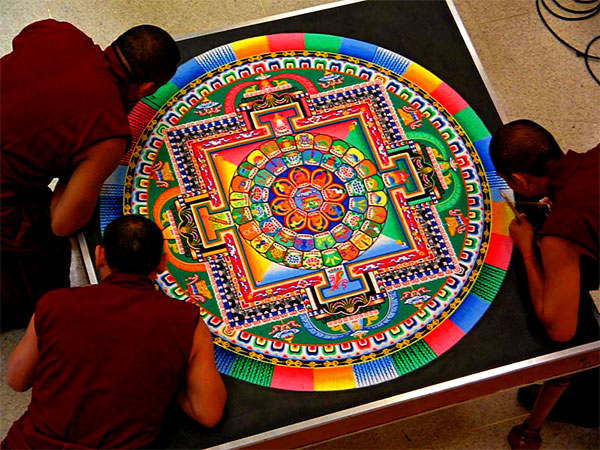 Tibetan Buddhist Monks Create Sand Mandala at the Blanton