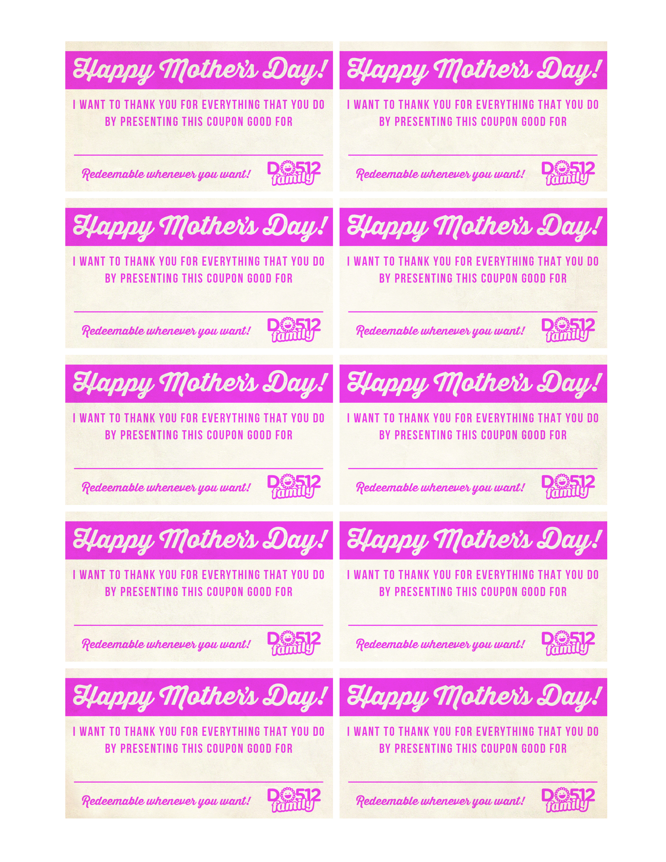 Mother's day coupons printable