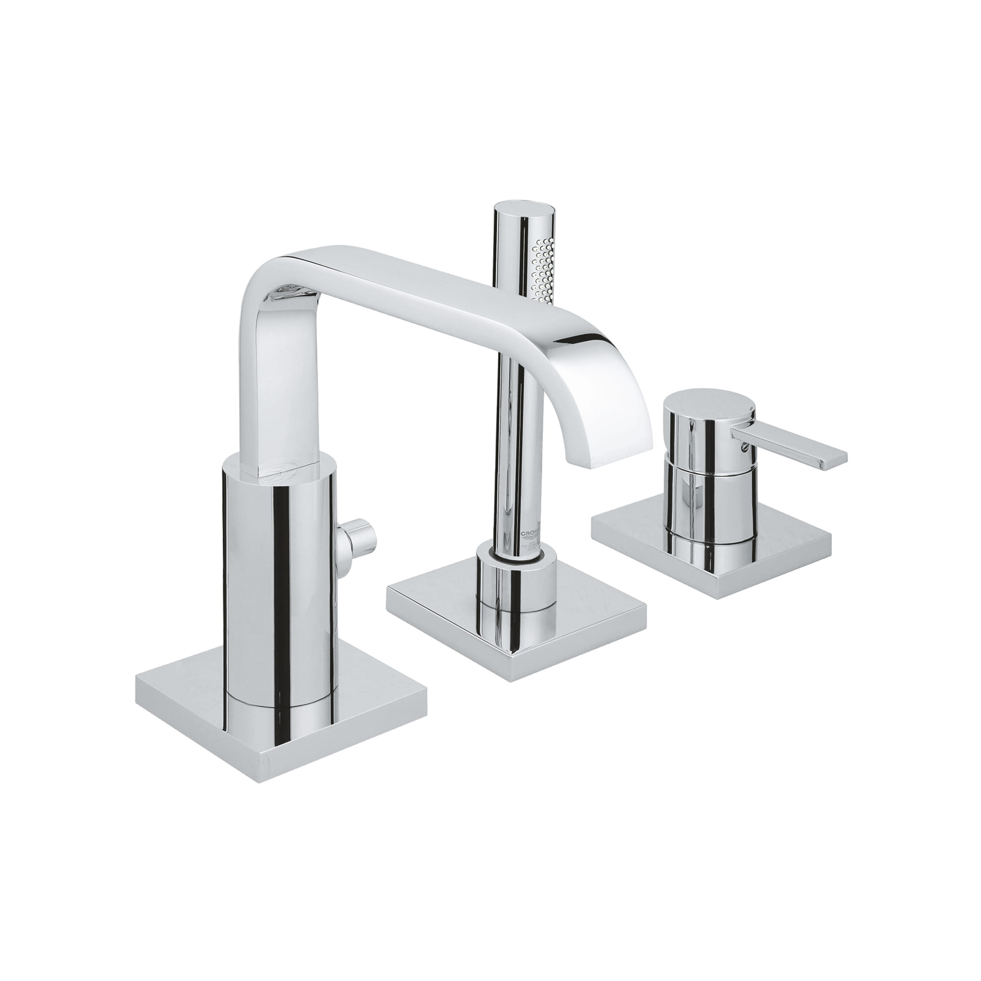 3 hole single handle deck mount roman tub faucet with hand shower