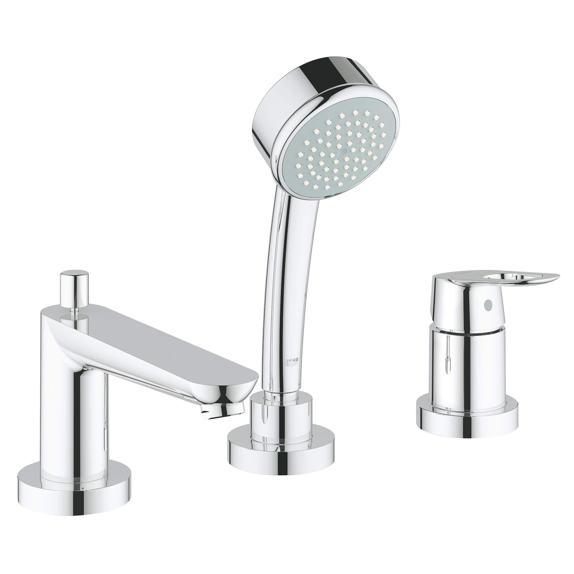 3 hole single handle deck mount roman tub faucet with 2 0 gpm hand shower