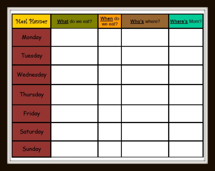 Meal Planner w Frame
