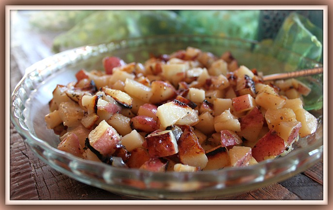 Diced Potatoes on Grill