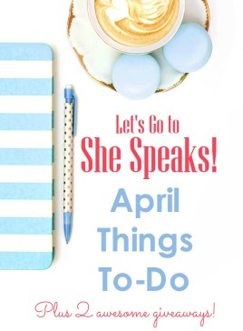Monthly series on preparing for the She Speaks writers conference, plus two awesome giveaways for writers who dream of having their books published