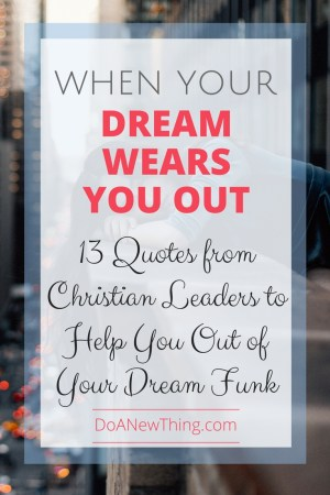 When our dreams wear us out, it's easy to doubt and wonder if we are really doing what we are supposed to do. These 13 quotes from Christian leaders like Lysa TerKeurst, Michael Hyatt and others will help you out of your dream funk.