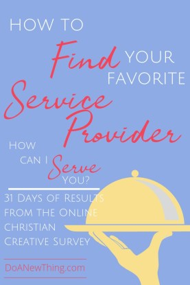 Only about 30% of those who responded to the Online Christian Creative Survey were able to name at least one service provider who was had been helpful to them.