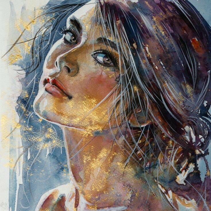 Kết quả hình ảnh cho tranh vẽ phụ nữ màu nước
