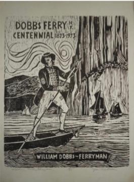 William Dobbs, Ferryman - woodcut by Jon Nielsen