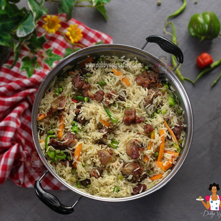 Goat meat coconut rice