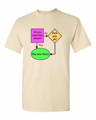 New Shoes Flowchart T-Shirt (natural)