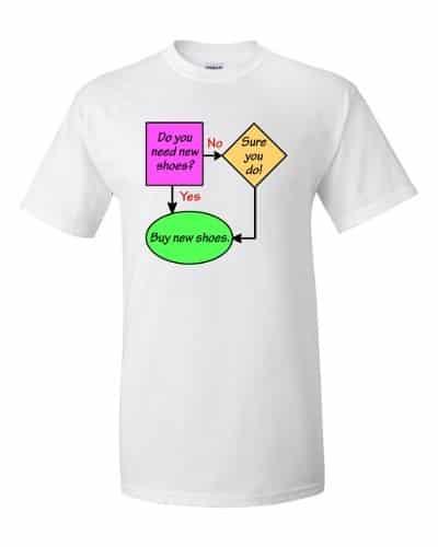 New Shoes Flowchart T-Shirt (white)