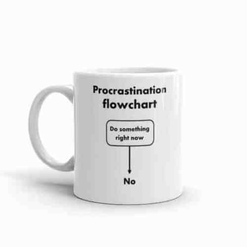 Procrastination Flowchart Mug (11 oz left)